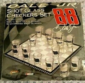 NIB DALE EARNHARDT JR #88 SHOT GLASS CHECKERS SET nascar COMPLETE IN BOX awesome