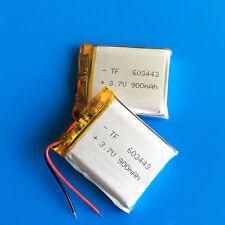 2 pcs 3.7V 900mAh 603443 Li Po Battery For Speaker MP4 PSP GPS MID Recorder PAD
