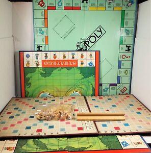 (5) Vintage Game Boards - 1948 Scrabble & Tile / 1985 Monopoly - Arts & Crafts