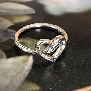 PANDORA 925 Sterling Silver (Sz 50) Heart Infinity Crystal Band Pinky Midi Ring