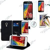 Housse Etui Portefeuille Motorola Moto G (2014)/ Dual SIM + Films Verre Trempe