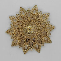 Vintage Signed MONET Large Filigree Open Work Domed Flower Brooch Pin Gold Tone