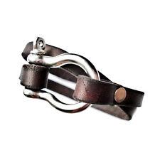 Customizable Leather Shackle Double Wrap Cuff Bracelet