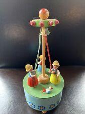 Vtg Reuge Wooden Music Box Germany Maypole Dancers 7� Liechtensteiner Polka
