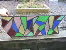 Vintage Stained Glass Panel Architectural Salvage Colouful Funky Arty Design Old