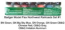 Badger Model Flex 1715 Northwest Railroads #1  (7) 1 oz Acrylic Paint Bottle Set