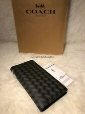 NIP Coach F30295 Men's Breast Pocket BiFold Harringbone Print Canvas Wallet-BLK