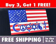 "COEXIST Flag Bumper Sticker 4""x7"" FREE SHIPPING!"