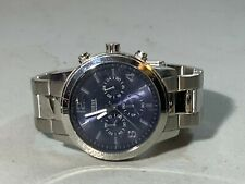MENS GUESS WATERPRO SILVER BLUE DIAL CHRONOGRAPH ANALOG QUARTZ WATCH U13577G2