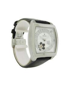 Bulova 96P118 Women's Diamond Tonneau Leather Stainless Steel Automatic Watch
