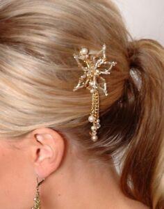 Handmade Swarovski crystal & pearls bridal comb w flower & tassels coffee  4cm