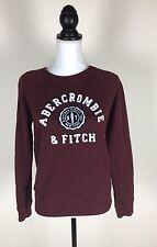Abercrombie & Fitch Women's Burgundy Crew Neck Sweatshirt Pullover Size Medium Q