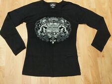 Women's Harley Davidson Long Sleeve Shirt Black bedazzled cotton/spandex Medium