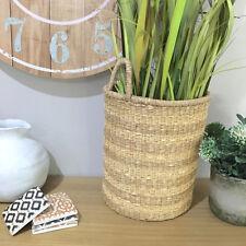 Striped Handmade Storage Basket/Natural Rattan Handwoven Planter/Toys/Bathroom
