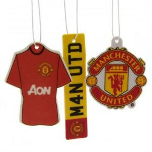 MANCHESTER UNITED FC 3 PACK AIR FRESHENER CAR ACCESSORY - OFFICIAL FOOTBALL GIFT