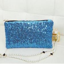 Azul Lentejuelas Embrague Bolso Bolso de Mano Correas de muñeca disponible Turquesa