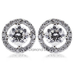 1.30ct tw F-SI2 Round Earth Mined Certified Diamonds 14K Gold Halo Stud Earrings