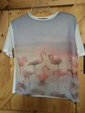 "Pretty Little Pink Flamingo T Shirt / Top Size 6 Chest 32"" - 34"" Approx"