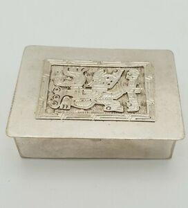 Antik 900er echt Silber Dose Pillendose Puderdose Azteken Inka Motiv
