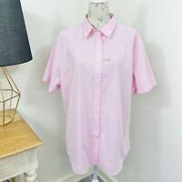 RM Williams Womens Nicole Shirt Pink Floral Short Sleeve Button Front Size 22