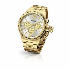 TW STEEL MEN'S CANTEEN QUARTZ CHRONOGRAPH WATCH WITH SILVER DIAL AND GOLD CASE