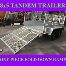 8x5 galvanised tandem box trailer with crate and ramp 2000kgs atm heavy duty