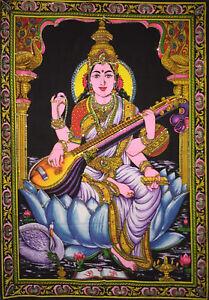 Poster Sarswati Design Wall Hanging Small Cotton Tapestry Beautiful Indian Art