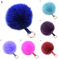CO_ FT-  Faux Fur Fluffy Pompom Ball Handbag Car Pendant Charm Key Chain Keyring