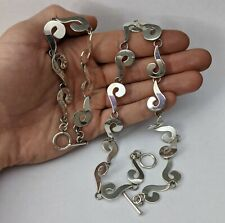Hi Ho Sterling Silver T Bar Swirl Necklace & Bracelet 49g