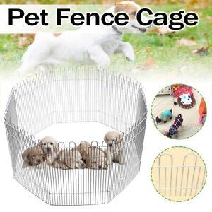 8 Panels Pet Fence Playpen Dog Puppy Rabbit Portable Play Cage Run Pen  t