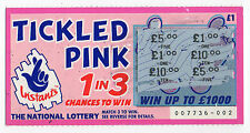 Original Vintage UK National Lottery Scratch Card Camelot Tickled Pink 1998