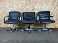 3x 60er 70er Jahre Wilkhahn Lobby Chair Sessel Ledersessel Easy Chair Chrom 60s