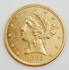 1882-S United States Liberty Half Eagle 5 Dollar $5.00 Gold Coin 8.4g