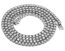 Mens Real Diamond Chain Choker 10k White Gold 1 Row Illusion Tennis Necklace 7.2
