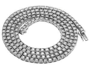Mens Real Diamond Chain Choker 10K White Gold 1 Row Illusion Tennis Necklace ...