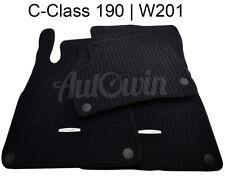 Floor Mats For Mercedes Benz C Class W201 Black Carpets With MB Emblem & Clips