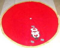 1950s Vintage Felt Red Christmas Tree Skirt - 34'' Santa Claus Hohoho decor