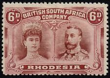 Rhodesia 1910-13 double head issue 6d. red-brown & mauve, MH (SG#144)