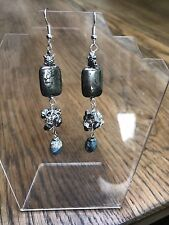 Pyrite And Larimar Silver Plated Earrings