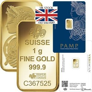 🇬🇧 PAMP 1g / 1 Gram Gold Bar Great GIFT INVESTMENT  FREE FAST 🇬🇧 DELIVERY
