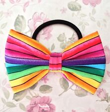 "NEW 3"" MULTICOLOUR RAINBOW STRIPE FABRIC BOW HAIR ELASTIC BAND PONYTAIL BOBBLE"