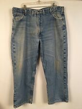 Carhartt Blue Jeans 44 X 30 With Flannel Lining Very Worn Work Pants Runs Small