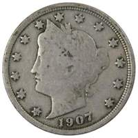 1907 Liberty Head V Nickel 5 Cent Piece VG Very Good 5c US Coin Collectible