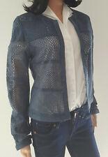 Lederjacke Lederblazer perforiert Damen Milestone blauGröße 38