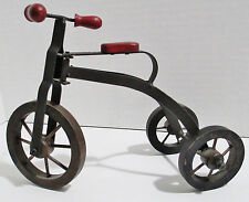 Toy Tricycle - Metal Frame Wood Wheels Seat & Handle Grips - Miniature 6 in Tall