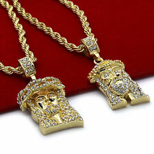 """Mens 14k Gold Plated High Fashion 2 pcs set of Jesus 4mm 30"""" & 24"""" Rope chain #2"""