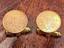 Denmark M M Crowned Initials Vintage Danish Copper Coin Cufflinks + Gift Box!