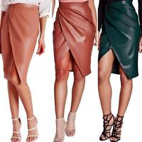 Womens Bandage Bodycon Leather Skirt Ladies High Waist Office Midi Pencil Skirts