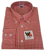 Mens Red Long Sleeved Gingham Shirts