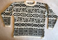 Vintage 80s 90s Womens Sweater Black White L Geometric Hip Hop USA Kawaii Kei